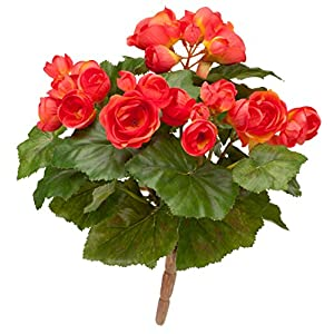 OakRidge Silk Begonia Bush – Artificial Flowers Outdoor Décor – Coral, 10″ Long