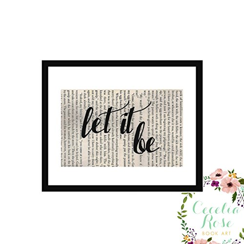 Let It Be John Lennon Beatles Inspirational Quote Upcycled Vintage Book Page 6x8 Box Framed Art Print
