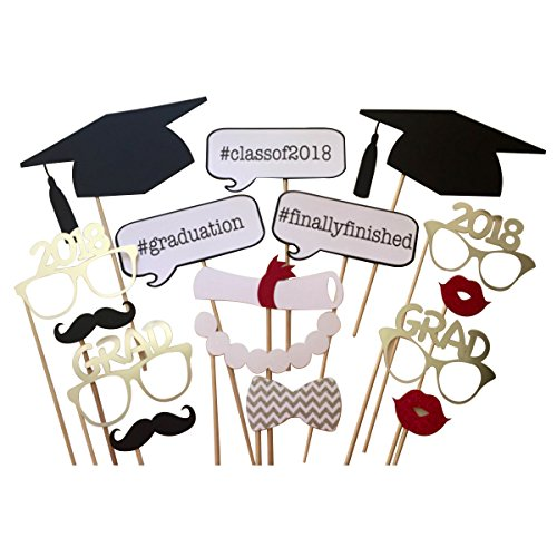 LUOEM 2018 Graduation Photo Booth Props on a Stick Class of 2018 Graduation Posing Props Graduation Party Decorations, Pack of (Novelty Photo Booth)