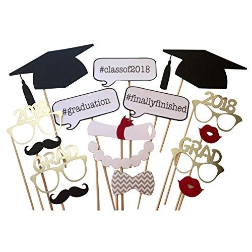 BESTOYARD 17pcs Graduation Photo Props Graduation Phtoto Booth Props 2017 Graduation Party Decorations -