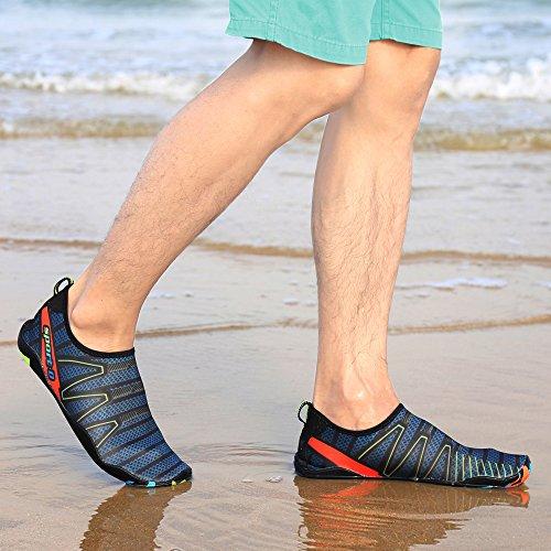 Mare Bagno Spiaggia Scarpette Scoglio Ashopping Immersione Uomo Blu Piscina Fiume con Scarpe Acqua da Antiscivolo da Scarpe Sabbia Palestra scuro Donna Suola da xCqwYTCF