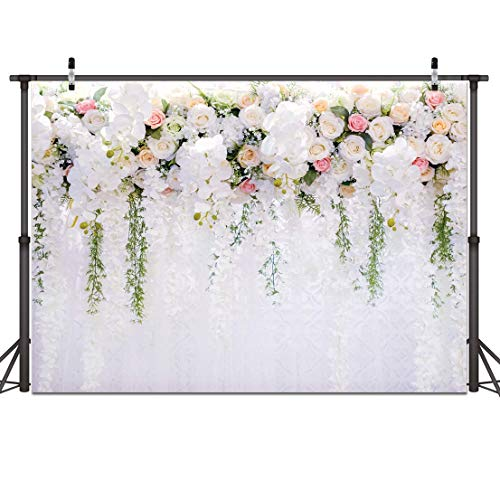 Bridal Shower Decoration White Flower Photo Backdrops Floral Wedding Party Backgrounds Flower Photo Background Backdrops for Wedding Birthday Party Decoration 59(7x5)