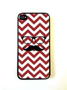 MEIMEIHipster Mustache Red Chevron Black iphone 5c Case - For iphone 5c- Designer T...MEIMEI