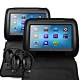Sonic Audio HR-9 - 2 x 9'' Universal Black Leather-Style Car DVD/Multimedia Headrests with 2 x IR Infrared Headphones