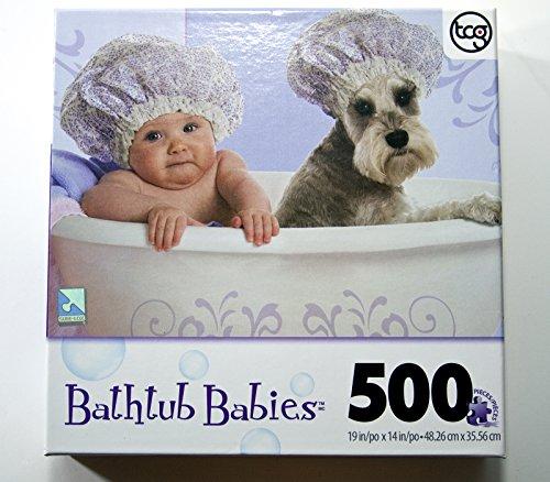 Bathtub Babies 500 Piece Puzzle - Baby, Schnauzer & Shower Caps 500 Piece Tub