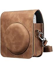 Fintie Protective Case Compatible with Fujifilm Instax Mini 90 Neo Classic Instant Film Camera - Premium Vegan Leather Bag Cover with Removable Strap, Rustic Brown