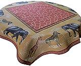 Corona Decor Shelly French Woven Heavy Weave Table Cloth, 60-Inch