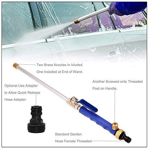 Cottile Hochdruck Wasserdüse Wasserlanze Mit Ausziehbarem Federschlauch 2 X Reinigungsdüse Spraydüsen Gartenschlauch Anschluss Blau Auto