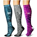 Toys : Laite Hebe Compression Socks,(3 Pairs) Compression Sock Women & Men - Best Running, Athletic Sports, Crossfit, Flight Travel (Multti-colors22, Small/Medium)