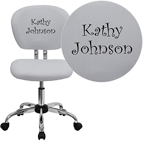 Mid-Back Mesh Embroidered Task Chair Finish: White, Arm Option: Not Included (Back Mesh Embroidered Mid)