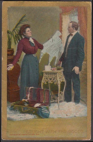 Caught with the goods comic postcard 1910 Wife finds girdle in husband's luggage