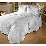 RoyCroft Prada Portuguese Matelasse Bedspread/Sham Set, King Size, White