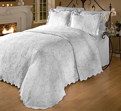 RoyCroft Prada Portuguese Matelasse Bedspread/Sham Set, Full Size, White