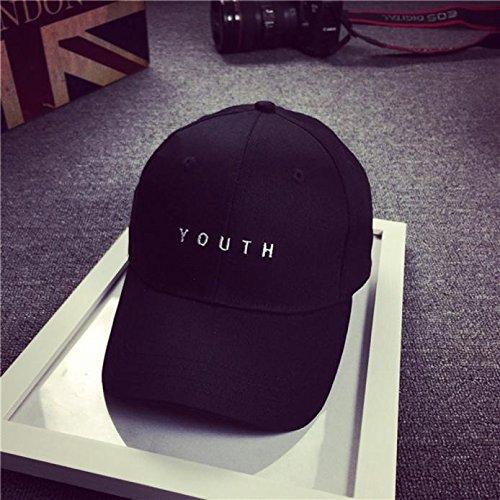 HiGOGO Baseball Cap Men,Unisex Youth Letter Embroidery Cotton Cap Snapback Hip Hop Flat Hat for Boys Girls Gifts (Black) by HiGOGO (Image #2)