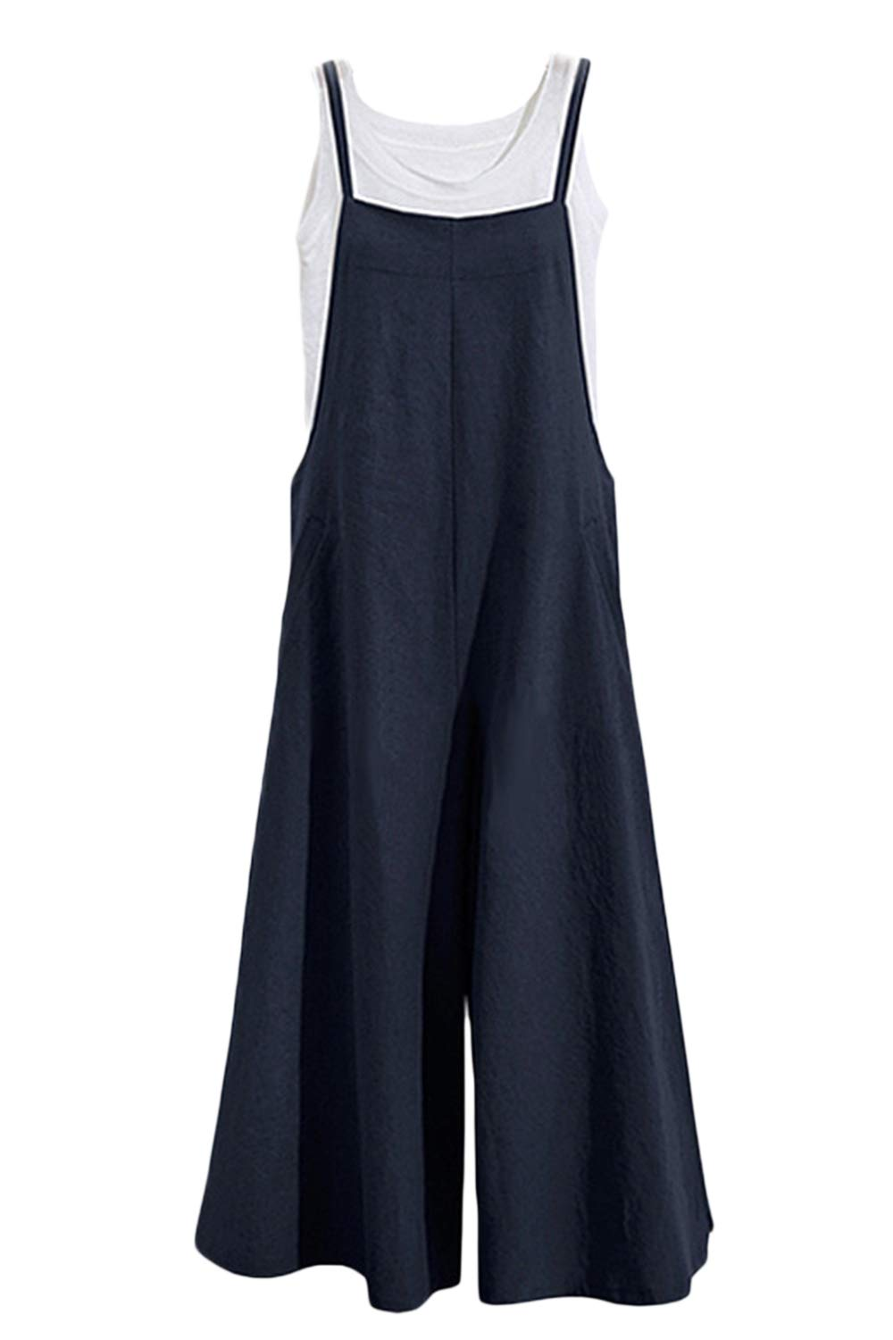 Sevozimda Womens Overalls Linen Loose Wide Leg Pants Baggy Jumpsuit and Rompers