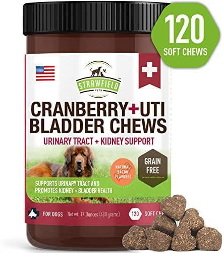 Cranberry Supplement for Dogs -120 Grain Free Dog Treats - Cranberry Chews for Urinary Tract Infection Treatment UTI Relief Bladder Control Support UT Incontinence - D-Mannose + Organic Echinacea, USA