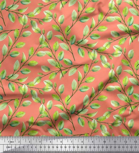 (Soimoi Orange Silk Fabric Elm Leaves Print Fabric by The Yard 42 Inch Wide)