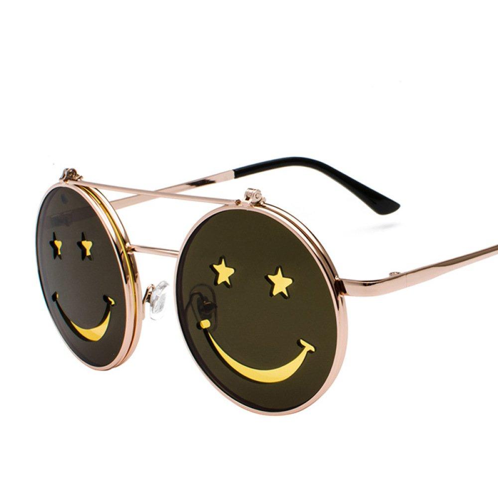 GSHGA MAIDIS Personnalité Smiley Flip Double Couche Lunettes De Soleil Hommes Et Femmes Street Shoot Funny Sunglasses Fashion 5aXmUJgX7