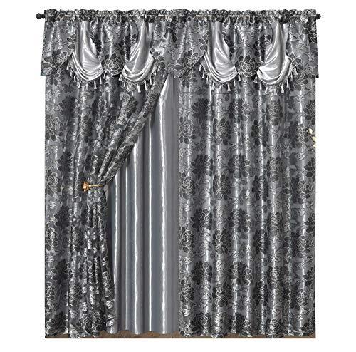 GOHD Golden Ocean Home Decor Royal ROSARIUM. Clipped Voile/Voile Jacquard Window Curtain with Attached Fancy Valance & Taffeta Backing. 2pcs Set. Each pc 54