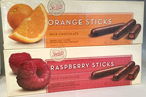 Sweet's Milk Chocolate Raspberry and Orange Sticks - Chocolate Sweet Jelly