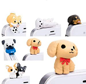 ZOEAST 6pcs Dachshund Labrador Corgi Shiba Pug Dust Plug 3.5mm Phone Headphone Jack Earphone Cap Ear Charm Compatible with iPhone 4 4S 5 5S 6 6S Plus Samsung iPad iPod etc (6PCS with 6 Patterns)