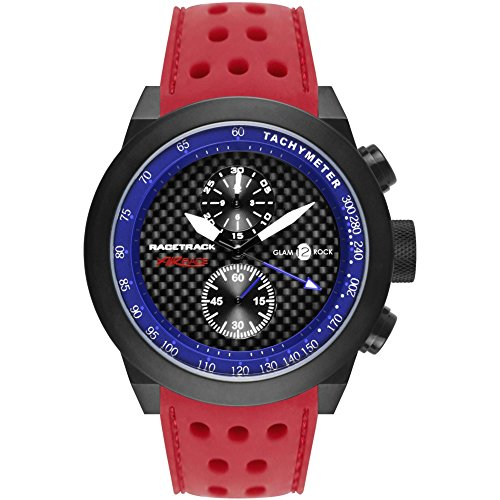 Glam Rock Men's Racetrack 48mm Red Silicone Band IP Steel Case Quartz Black Dial Analog Watch GRT29115F-N
