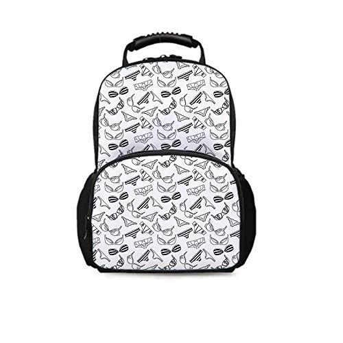 Backpack School Bag,Lingerie Underwear Pattern Bras and Panties Doodle Feminine Fashion Theme