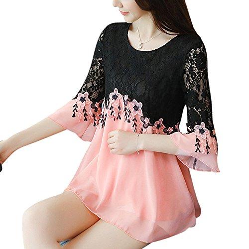 SansoiSan Womens Casual Crew Neck Plus Size Tops Lace Shirt Chiffon Blouse(S-5XL)