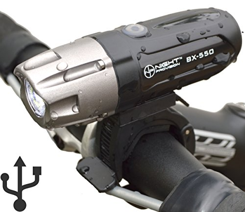 Night Provision™ ULTRA BRIGHT BX-550 USB Rechargeable LED Bike Headlight INTENSE WHITE 550 Lumens - Easy-Click Mount - Battery Capacity Check - Water Proof IPX65 (Cycling Headlight)