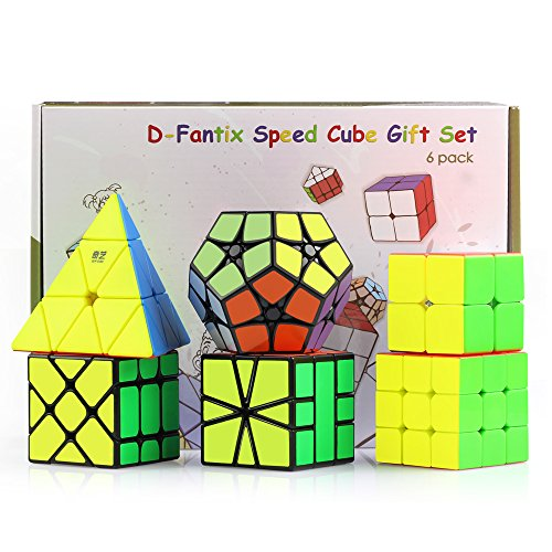 D-FantiX Speed Cube Bundle, Cyclone Boys 2x2 3x3 Stickerless, Pyraminx, Square-1, 2x2 Megaminx, Fisher Cube, Magic Cube Puzzles Games Toys Christmas Gift Set for Kids