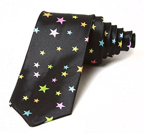 2' Trendy Skinny Tie - Black Multicolored Random Placed Stars