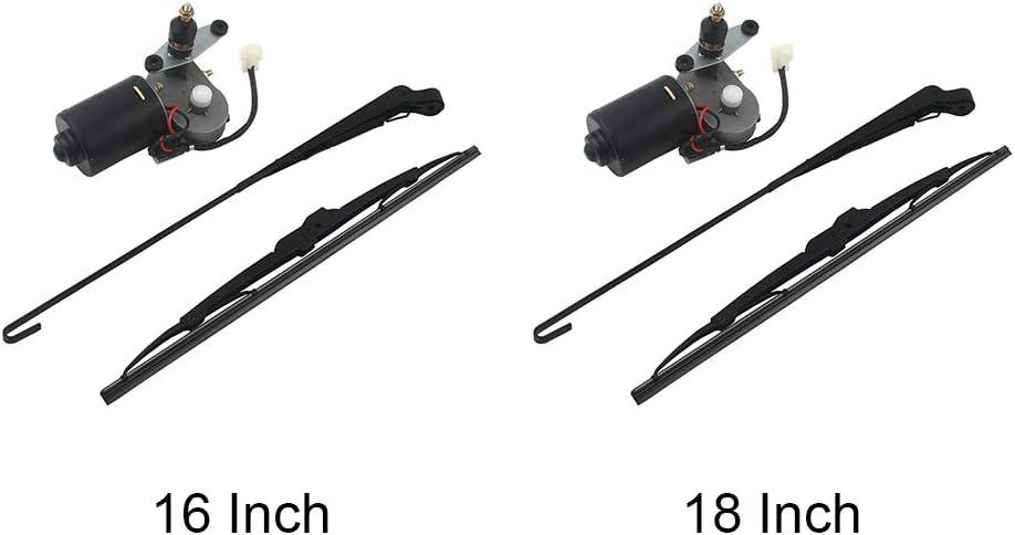 nago0 Electric UTV Windshield Wiper Motor Kit,Universal Windshield Wiper Arm,Wiper Blade Kit and Motor 12V with 90 Degree Wiper,Hard Coated Polycarbonate Universal Windshield Wiper Kit