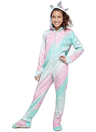 9b278e5b2b70 Amazon.com  Justice Girls One-Piece Unicorn Fleece Footed Pajamas (8 ...