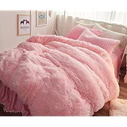 Ceruleanhome 1pc 100% Velvet Flannel Duvet Cover, Solid Color, No Inside Filler, Zipper Close (Queen 1pc Duvet Cover, Pink)