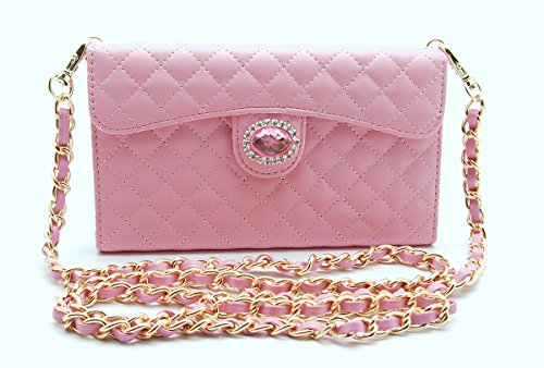 Amazon Com Zzybia Ip6 Plus 5 5 Chain Purse Pink Leatherette Case