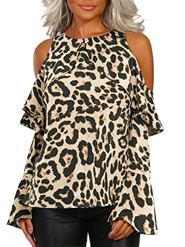 YOINS Women Cold Shoulder Tops Leopard Print Tunic Blouses Tshirts Long Sleeve Flare Sleeve Baggy Shirts Pullover