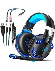 Gaming Kopfhörer für PS 4 PC Computer|Professioneller 3,5mm Gaming Headset|Stereo Sound Mikrofon mit Rauschunterdrückung und Lautstärkeregler|Egonomisches Design, geringes Gewicht (Blau)