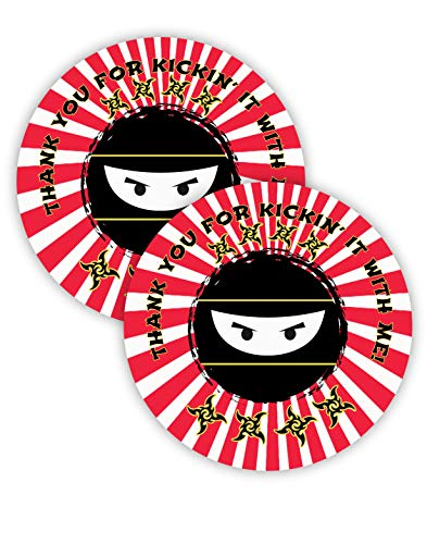 Price comparison product image POP parties Ninja Party Favor Stickers - 40 Favor Bag Stickers - Ninja Thank You Tag - Ninja Party Supplies - Ninja Party Decorations