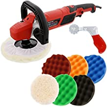 "TCP Global 7"" Professional High Performance Variable Speed Polisher with a 6 Pad Buffing and Polishing Kit - Includes 5-8 Waffle Foam & 1-8 Wool Grip Pads and a Pad Cleaning Spur"
