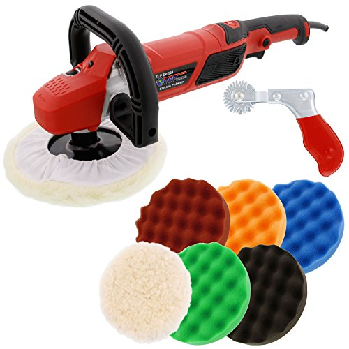 "TCP Global 7"" Professional High Performance Variable Speed Polisher with a 6 Pad Buffing and Polishing Kit - Includes 5 - 8"" Waffle Foam & 1 - 8"" Wool Grip Pads and a Pad Cleaning Spur"