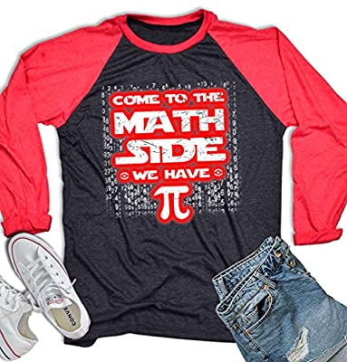 Pi Shirt Pi Day Shirt Funny Math T Shirt for Men Women Come to The Math Side We Have Pi Long Sleeve Baseball Tee Dark Heather