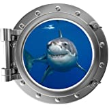"""12"""" PortScape Instant Sea Porthole Window Shark 1 Wall Sticker Graphic Decal Kids Game Room Decor Art Cling NEW"""