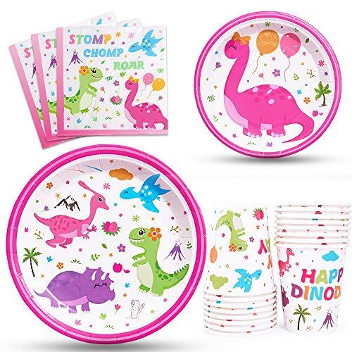 WERNNSAI Vajilla de Dinosaurio Partido – Artículos de Fiesta de Dino para Niñas Cumpleaños Baby Shower Papel Desechable Almuerzo Cena Postre Pastel Platos Servilletas Tazas Sirve 16 Invitados