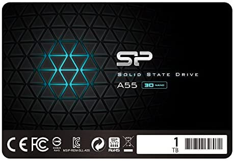 "Silicon Power 1TB SSD 3-D NAND A55 SLC Cache Performance Boost SATA III 2.5"" 7mm (0.28"") Internal Solid State Drive (SP001TBSS3A55S25)"