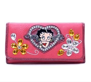 Betty Boop Cartera de talonario de Bolsos y billeteras con Piedras Preciosas de Flores y Diamantes