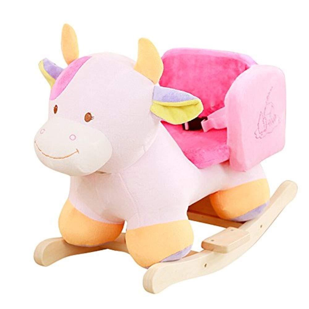 木馬ロッキング 子供のデュアルユースロッキングホーススクエア牛牛椅子ギフト、50KG容量、子供の伝統的なおもちゃ ロッキングホース   B07RWG93S2