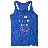 Gone For a Run Run-All-Day-Then-Rosé Flowy Racerback Tank Top | Running Tanks Blue | Adult Small