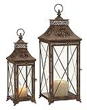 Deco 79 Metal Glass Lantern, 24 by 18-Inch