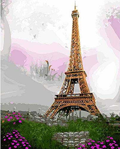 (YEESAM ART DIY Paint by Numbers for Adults Beginner Kids, Paris Eiffel Tower Spring Flowers 16x20 inch Linen Canvas Acrylic Stress Less Number Painting Gifts (Eiffel Tower, Without)