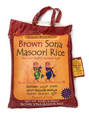 Asian Kitchen Brown Sona Masoori Aged Rice 10lbs Pound Bag (4.54kg) Short Grain Rice ~ All Natural | Gluten Free | Vegan | Indian Origin | Export Quality (Best Sona Masoori Rice In Usa)